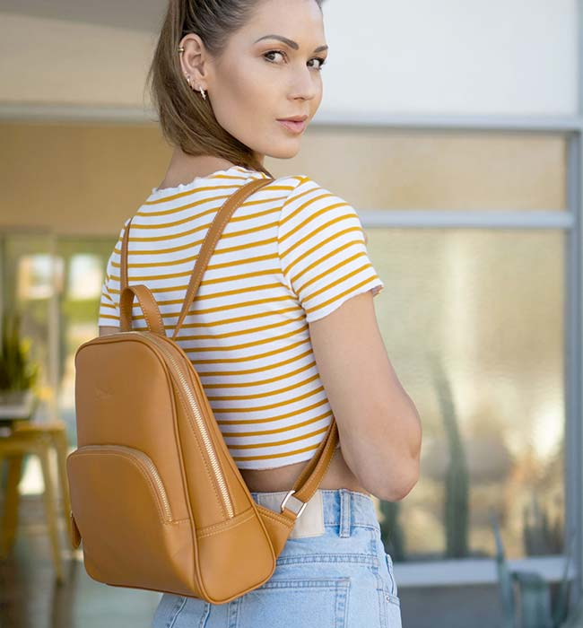 Slim Vegan Leather Backpack by Doshi