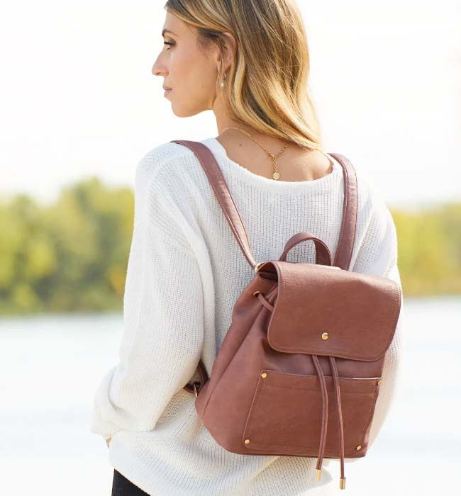 Button Snap Vegan Backpack by Jeane & Jax