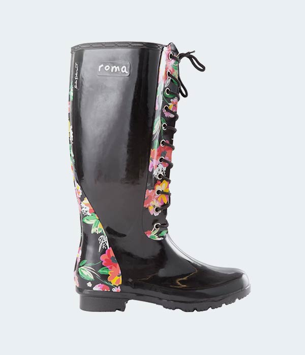 Tall Lace-Up Vegan Rain Boots by ROMA