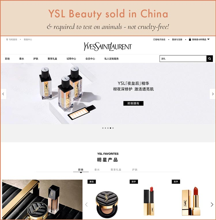 YSL Beauty Sold in China - Not Cruelty-Free!