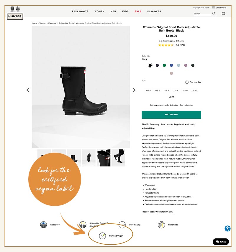 Look for the 'Certified Vegan' label on Hunter Boots!