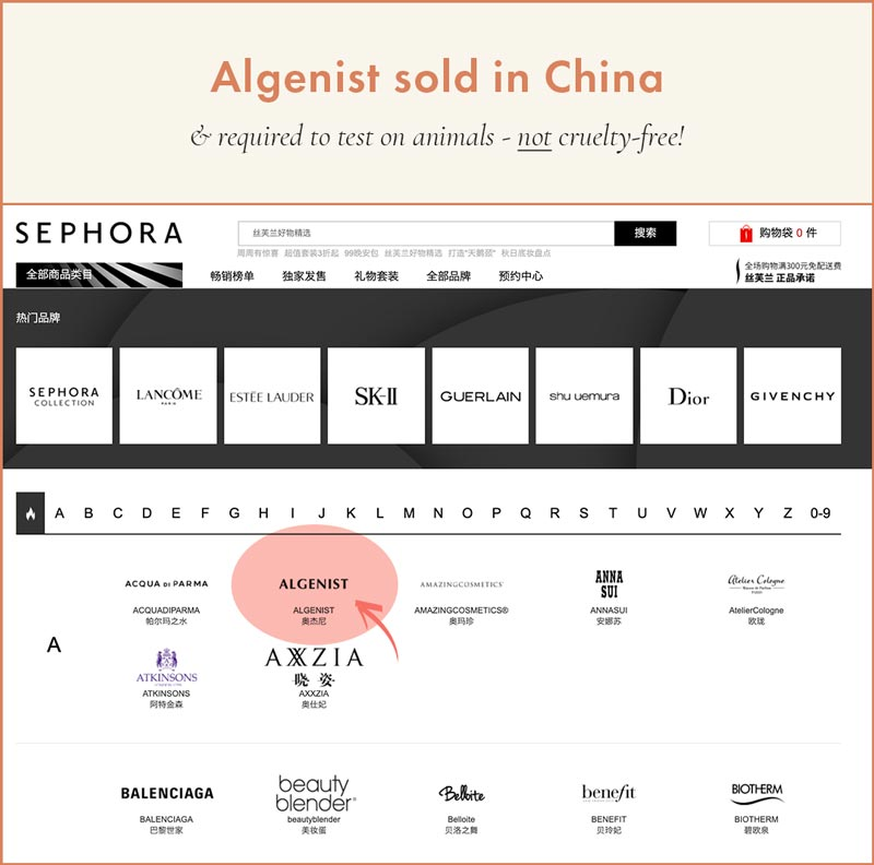 Algenist Sold in China - Cannot be Cruelty-Free
