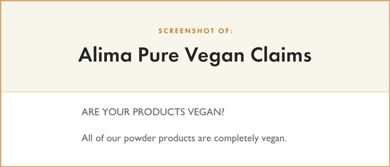 Alima Pure Vegan Claims