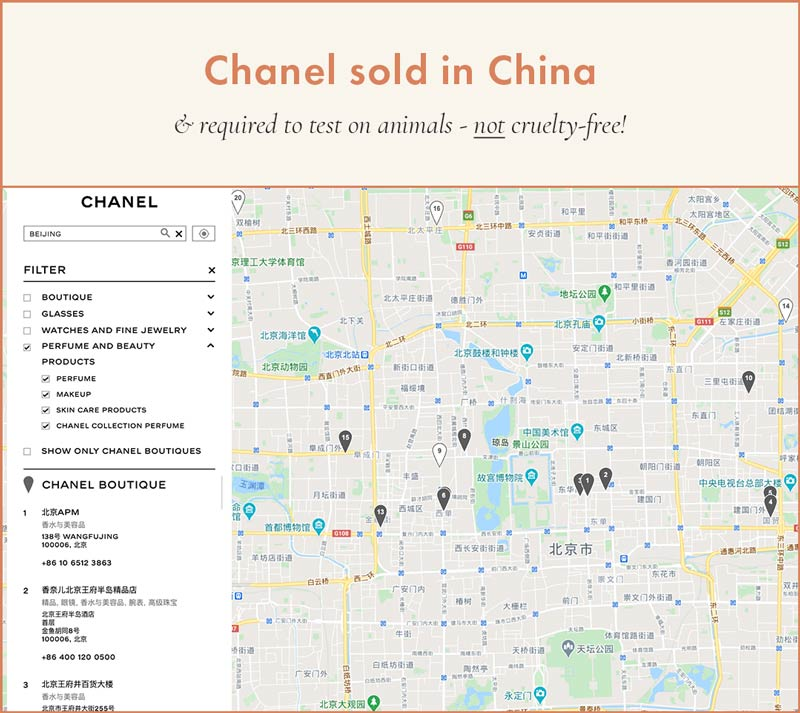 Chanel Beauty Sold in China and required to test on animals