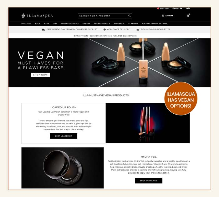 Where to find Illamasqua vegan makeup?