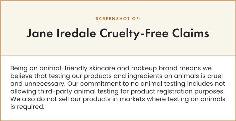 Jane Iredale Cruelty-Free Claims