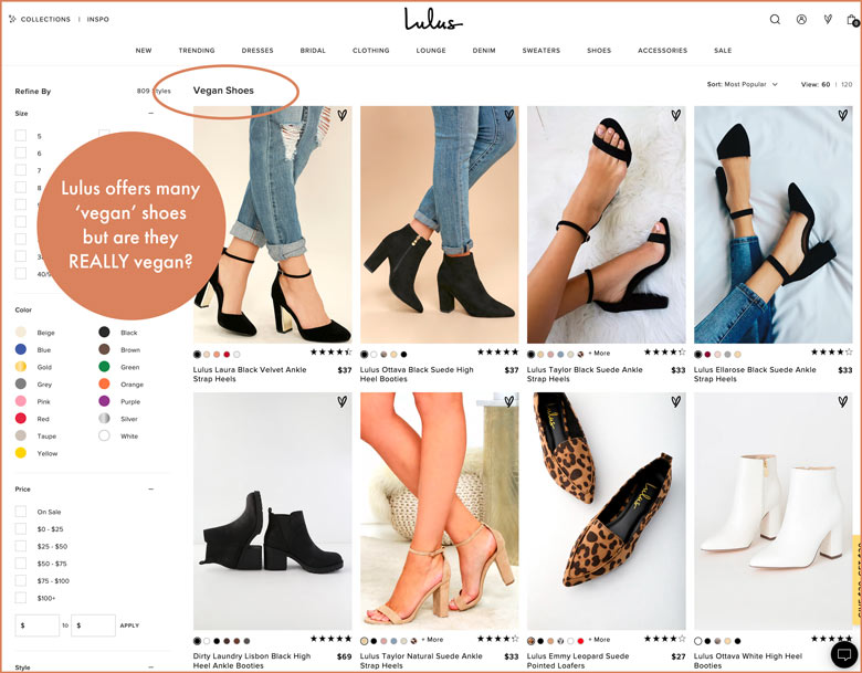 Lulus offers many 'vegan shoes' but are they really vegan?