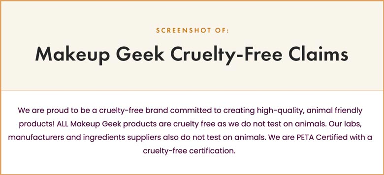 Makeup Geek Cruelty-Free Claims