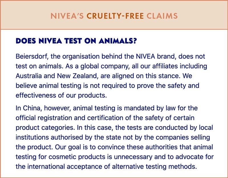 NIVEA Cruelty-Free Claims