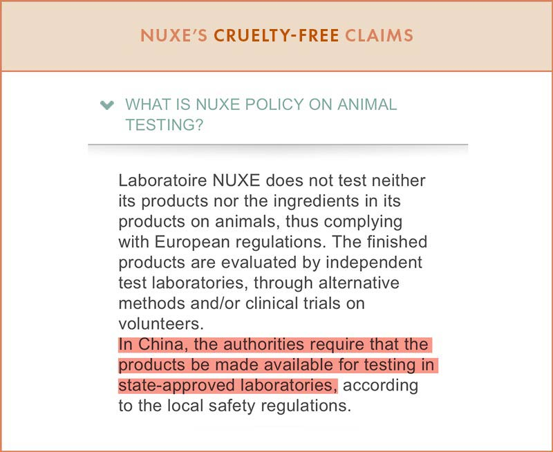 NUXE Cruelty-Free Claims