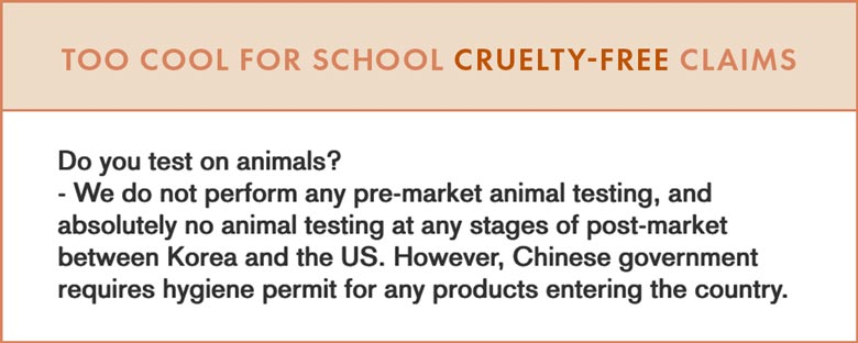 Too Cool For School Cruelty-Free Claims