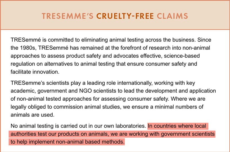 Tresemme Cruelty-Free Claims