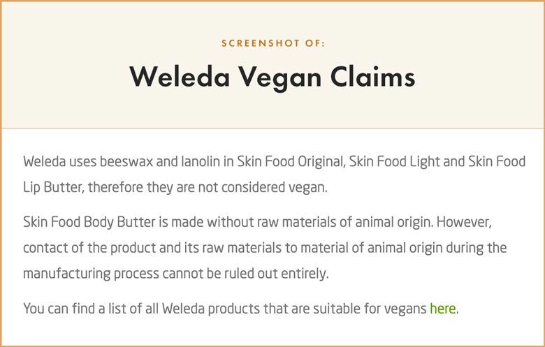 Weleda Vegan Claims