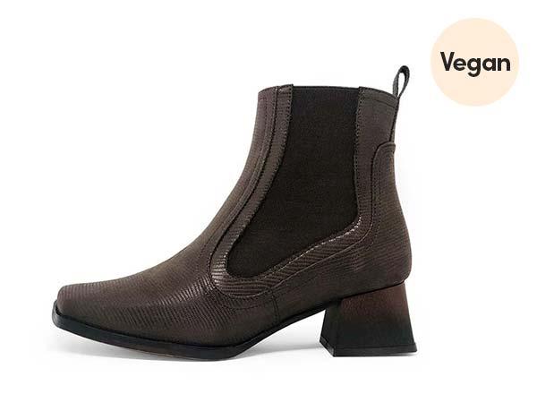 Brown Lizard Print Vegan Suede 'Galatea lag Marrón' Boots