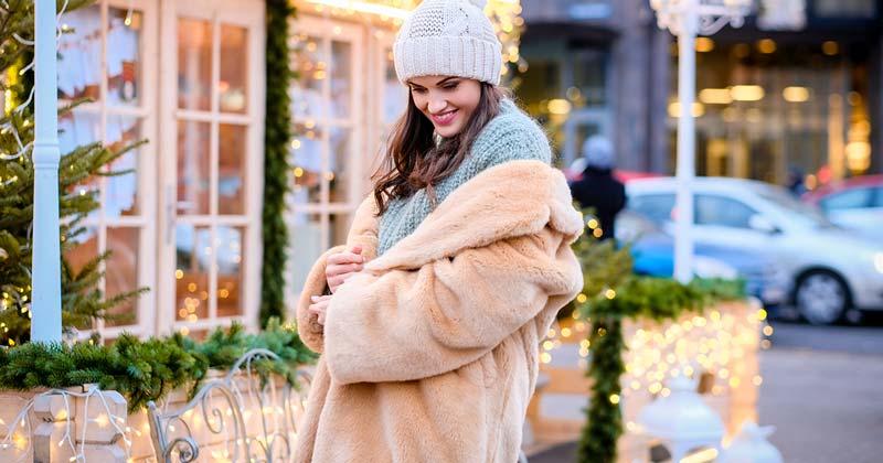 Beautiful full length vegan sculpted faux fur coat