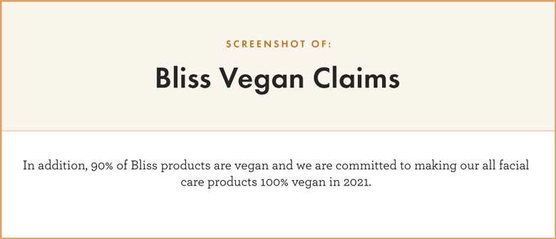 Bliss Vegan Claims