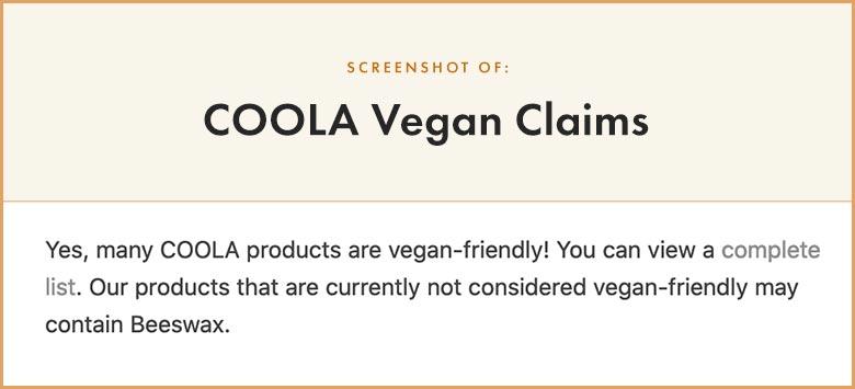COOLA Vegan Claims