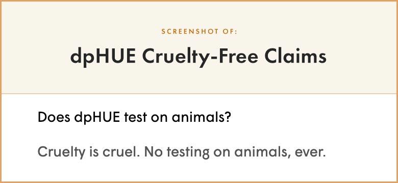 dpHUE cruelty-free claims
