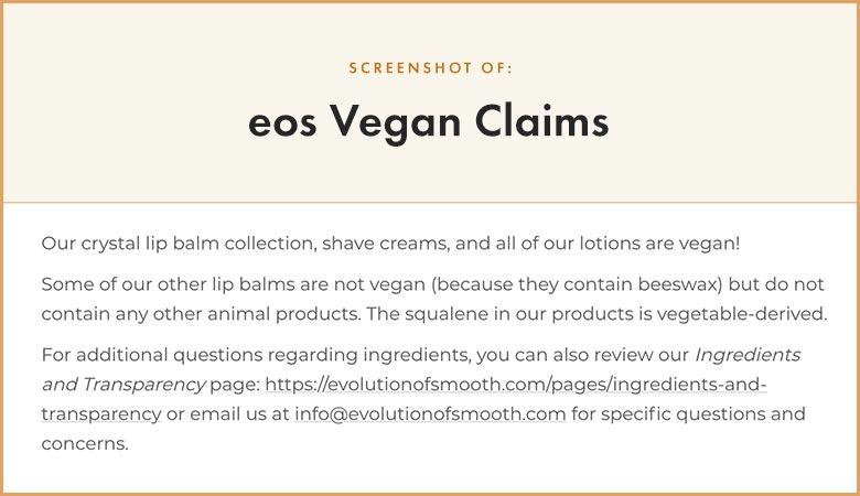 eos vegan claims
