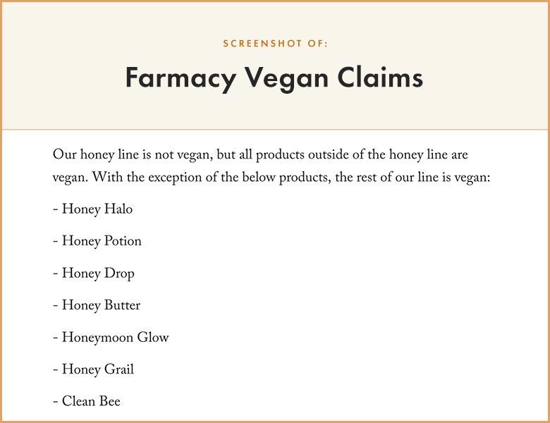 Farmacy Vegan Claims