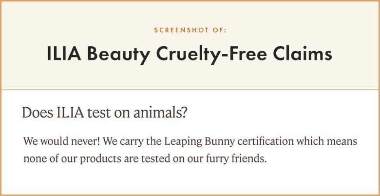 ILIA Cruelty-Free Claims
