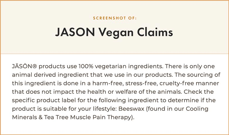 JASON Vegan Claims