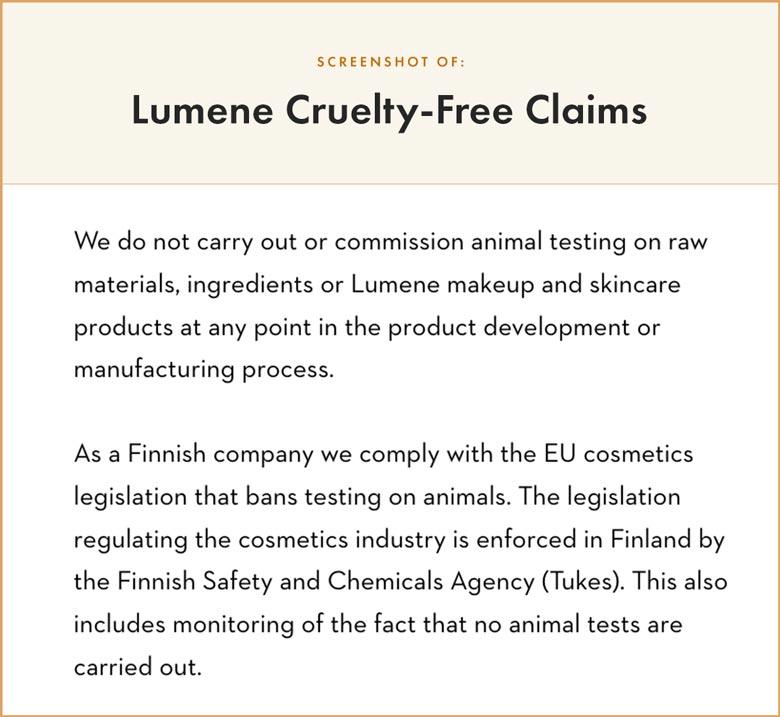 Lumene Cruelty-Free Claims