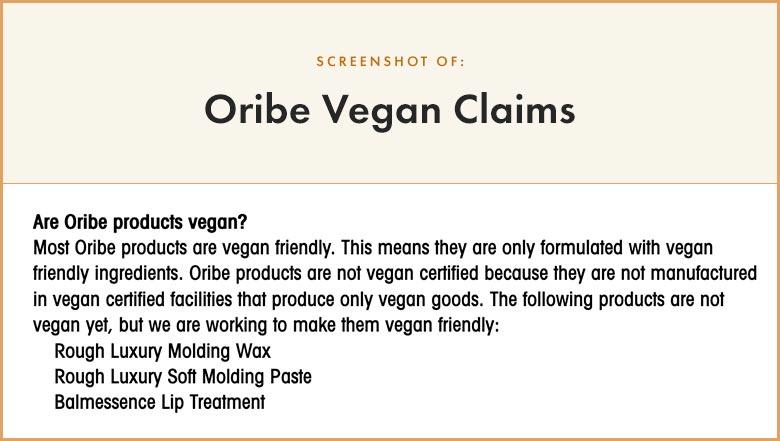 Oribe Vegan Claims