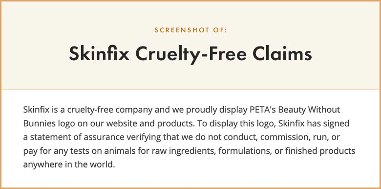 Skinfix Cruelty-Free Claims