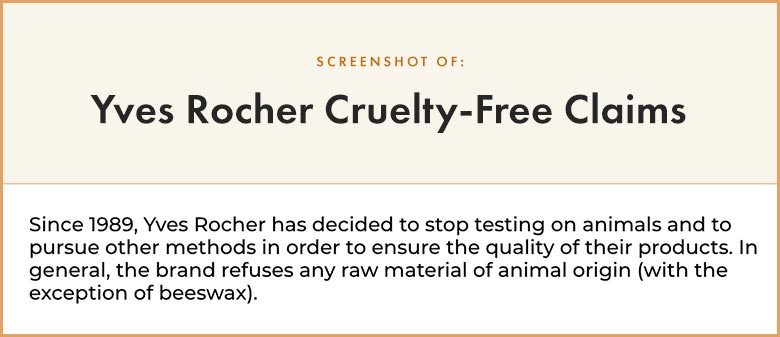 Yves Rocher Cruelty-Free Claims