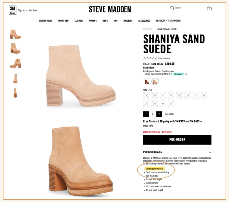 these shoes were in Steve Madden's 'vegan heel' section but they're made with animal suede!