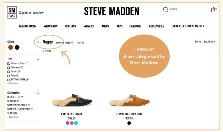 'vegan' shoes categorized by Steve Madden