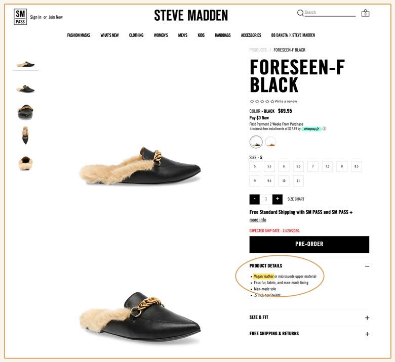 Steve Madden offers vegan leather shoes!