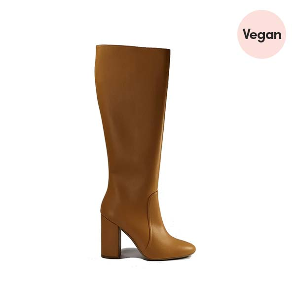 'Claudia' Vegan Leather Knee-High, High-Heeled Boot