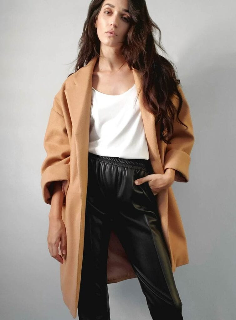 Oversized, mid-length vegan coat