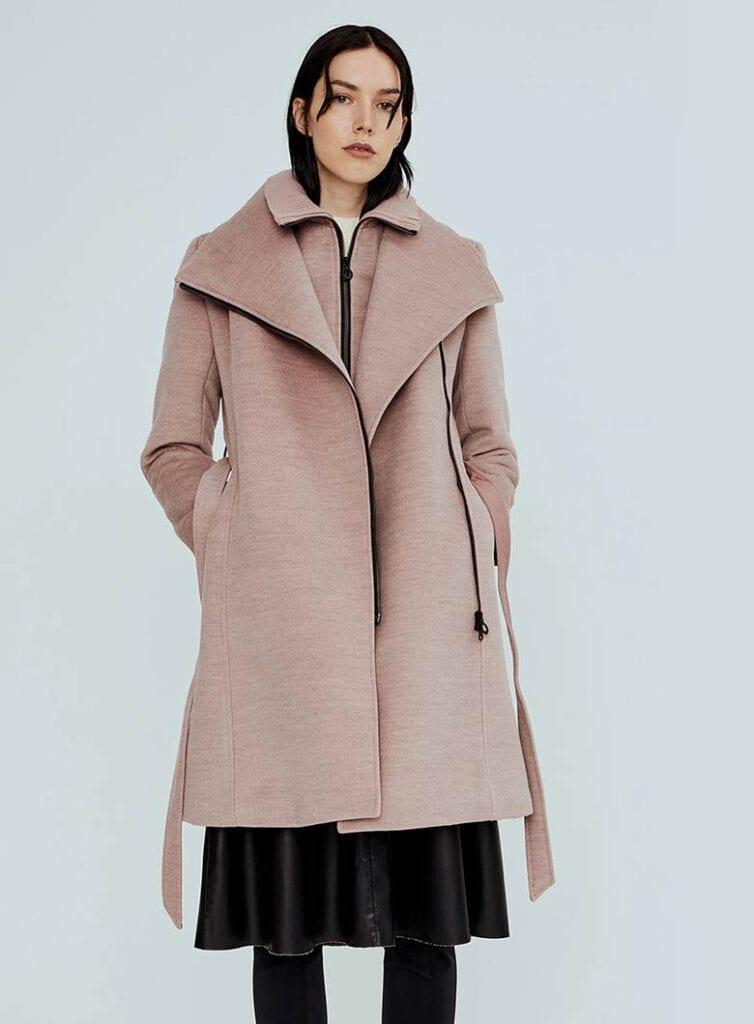 Semi-fitted mid-length vegan wool coat