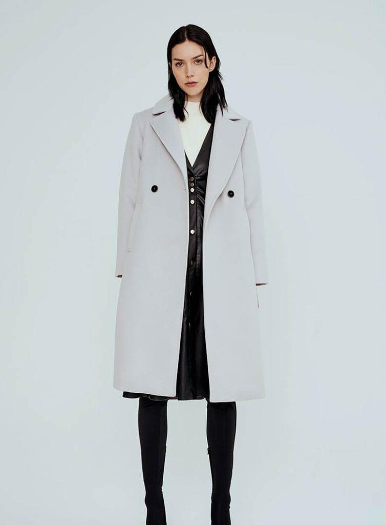 Double-breasted vegan wool coat