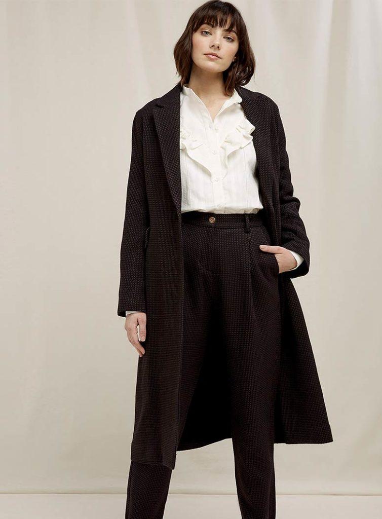Textured handwoven organic cotton coat