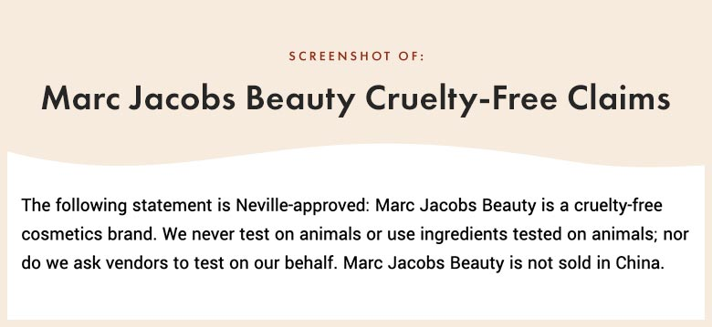 Marc Jacobs Beauty Cruelty-Free Claims