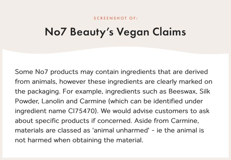 No7 Beauty's Vegan Claims