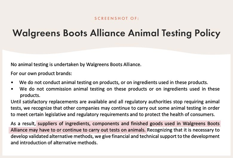 Walgreens Boots Alliance Animal Testing Policy