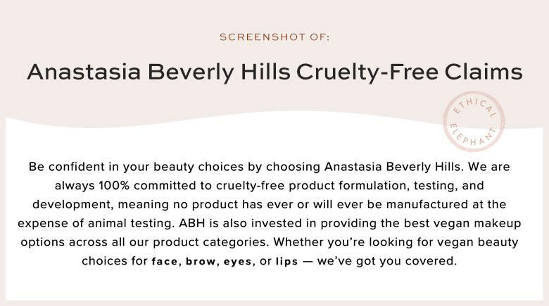 Anastasia Beverly Hills Cruelty-Free Claims