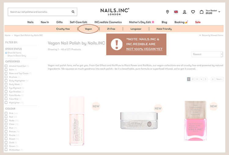 Nails.INC isn't 100% vegan yet as it appears