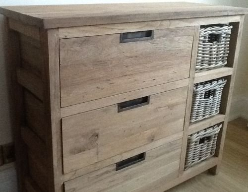 finest selection 2964f dc00e Reclaimed Teak Storage Unit / Storage Chest with 3 Drawers plus 3 Kubu Grey  Natural Wicker Basket