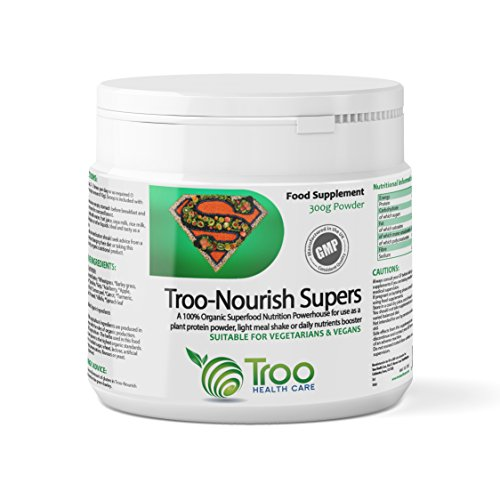 Troo-Nourish Supers 300g Powder - Organic Superfood Nutritional Supplement  Containing Wheatgrass, Barley Grass, Quinoa, Spirulina, Seagreens®