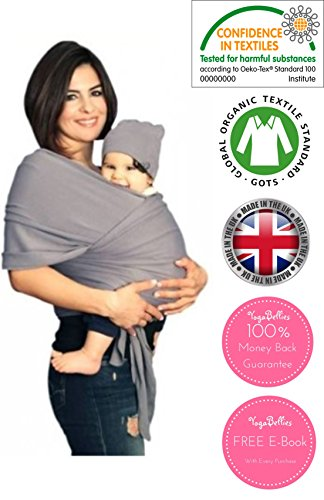 Yogabellies Safety Certified Baby Sling Wrap Super Soft 100 Organic Cotton Baby Wrap Crafted In Uk Baby Carrier For Newborn And Infants Free