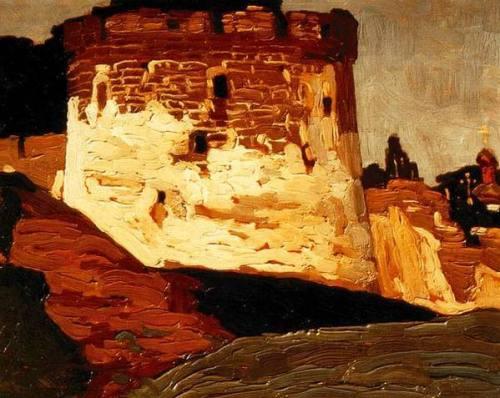 """Картина Николая Рериха """"Печоры. Монастырские стены и башни"""""""