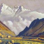 КАШМИР Нанга Парбат [Долина у снежных гор]. 1935–1936 Nanga Parbat [The Valley at the Snowy Mountains] Холст, темпера. 29,4 х 47,6