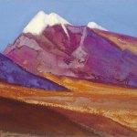 Ладак [Сиреневые склоны]. 1943 Ladakh [The Lilac Slopes] Картон, темпера. 30,2 х 45,7