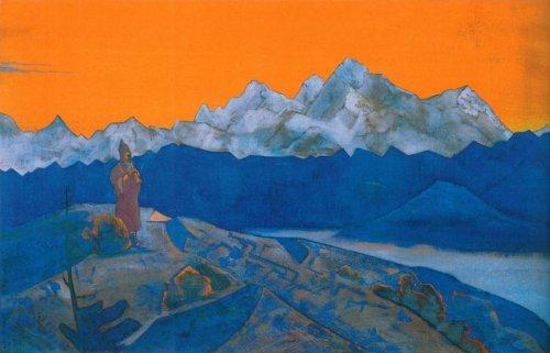 Картина Н . К . Рериха . Красный лама . 1924 г.